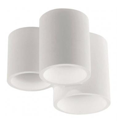 Lámpara de techo redonda Banjie en yeso blanco con tres elementos 3XGU10