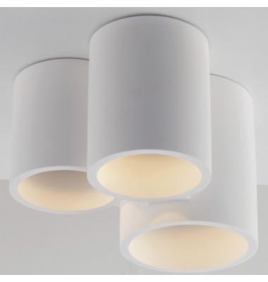 Lámpara de techo redonda Banjie en yeso blanco con tres elementos, 3XGU10