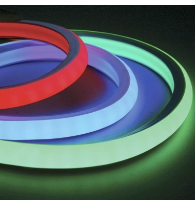 RGB Neon Tubo NS0816, 24V, 12W/m, 320Lm/W, Emisión Luz Superior. 5 metros, IP65