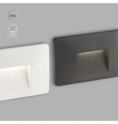 Baliza LED de Pared Breen 3W, 150Lm. Blanco Natural de 4000k. Ángulo 45º, Acabado Blanco Mate. IP65