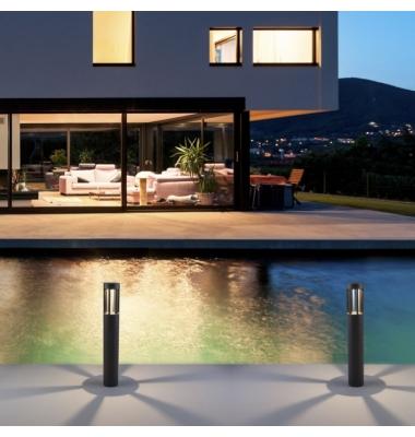 Baliza Suelo Exterior LED Devora, 8W. Gris Antracita, Blanco cálido de 3000k