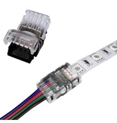 Conector sin Soldadura, Conexión Cable con Tira RGB de 10mm. IP20