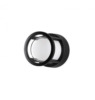 Aplique Exterior LED Agosto Redondo , 6W. 430 Lm. Negro Mate, Blanco cálido de 3000k
