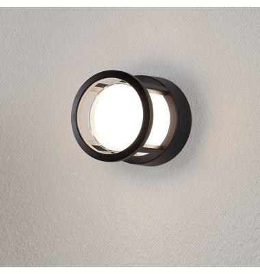 Aplique Pared LED, Agosto Redondo , 6W. 430 Lm. Negro Mate, Blanco cálido de 3000k. Exterior, IP54