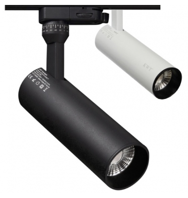 Foco Carril Radiant, Negro Mate, LED Citizen 15W. 3 encendidos, Electrónica Tridonic, Ángulo 28º