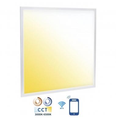Panel LED 60x60cm, 32W, CCT, Smart WiFi Regulable y Seleccionable. Marco Blanco