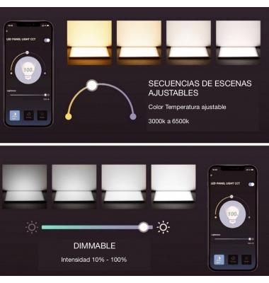 Panel LED 60x60cm, 32W, 3200 Lm. CCT, Smart WiFi Regulable y Seleccionable. Marco Blanco