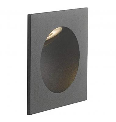 Baliza LED de Pared Rectangular ONYX 2W, 144Lm. Blanco Natural de 4000k. Ángulo 45º, Material Aluminio. Acabado Negro Mate. IP54
