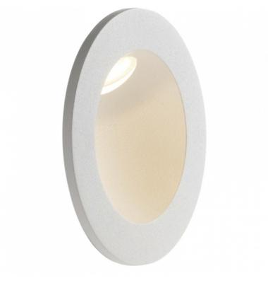 Baliza LED de Pared Redonda ONYX 2W, 144Lm. Blanco Natural de 4000k. Ángulo 45º, Materiall Aluminiote. IP54. Acabado Blanco Ma