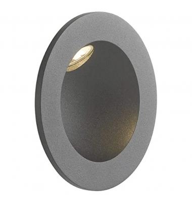 Baliza LED de Pared Redonda ONYX 2W, 144Lm. Blanco Natural de 4000k. Ángulo 45º, Material Aluminio. IP54. Acabado Negro.
