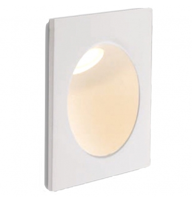 Baliza LED de Pared ONYX 2W, 144Lm. Blanco Natural de 4000k. Ángulo 45º, Merial Aluminio. Acabado Blanco Mate. IP54