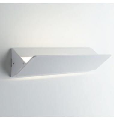Aplique LED de Pared AILERON,difusión de luz superior e inferior,banda oscilante,de 10W 4000K . En aluminio blanco arenoso.