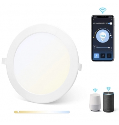 Downlight Panel Redondo, BID, LED CCT, 2700k-6500k, 18W, 1380 Lm. Ángulo 120º, Amazon Alexa y Google Assistant