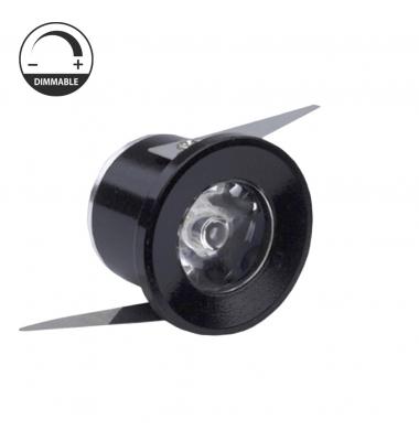 Foco Empotrar LED Dimmable, Waker II, 1W, Negro Mate, IP20, Ángulo 40º, Blanco Cálido de 3000k