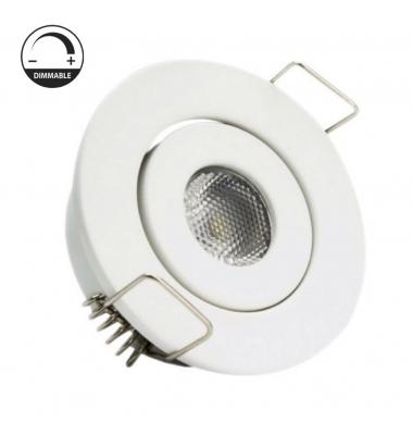Foco Empotrar LED Dimmable, MINI, Basculante, 3W, Blanco Mate. Blanco Cálido de 3000k, Ángulo 60º