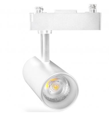 Foco Carril Orientable Bifásico, Rover, Blanco Mate, LED COB 10W, Ángulo 24º