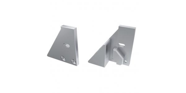 Soporte Lateral Abierto de Aluminio, Perfil LABEL, Vidrios-Metacrilatos 8mm