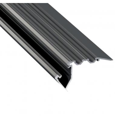 Perfil Aluminio STEP de 2.02 metros, para Escaleras, Acabado Negro