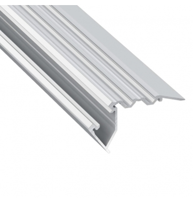 Perfil Aluminio STEP de 2.02 metros, para Escaleras, Acabado Plata