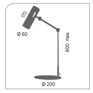 Dimensiones lámpara sobremesa