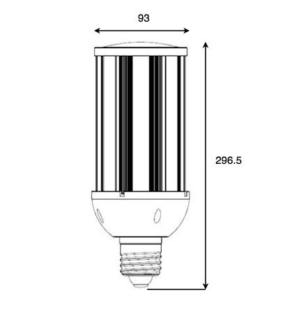 Dimensiones bombilla LED 54W