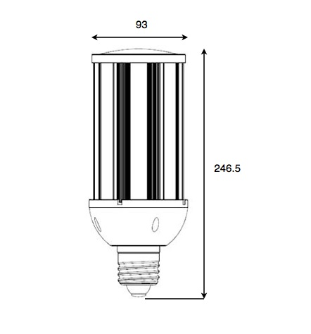 Dimensiones bombilla LED 36W
