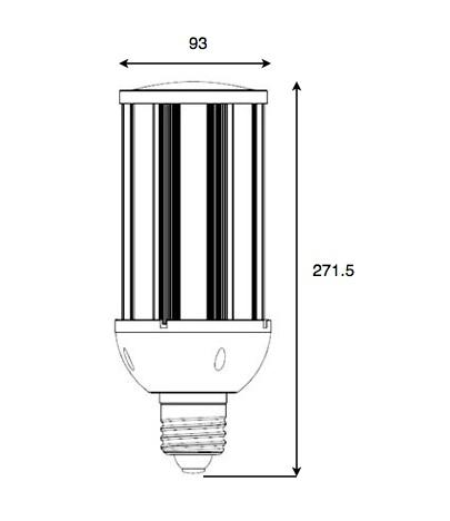 Dimensiones bombilla LED 45W