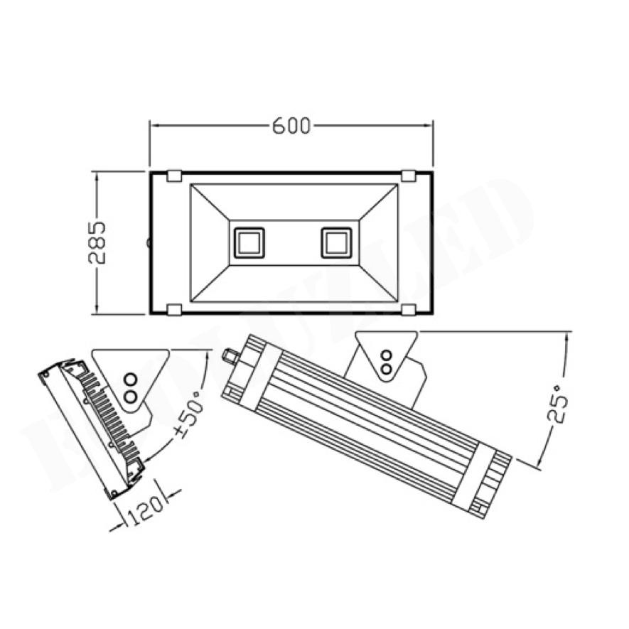 Dimensiones Proyector Túnel LED 140W