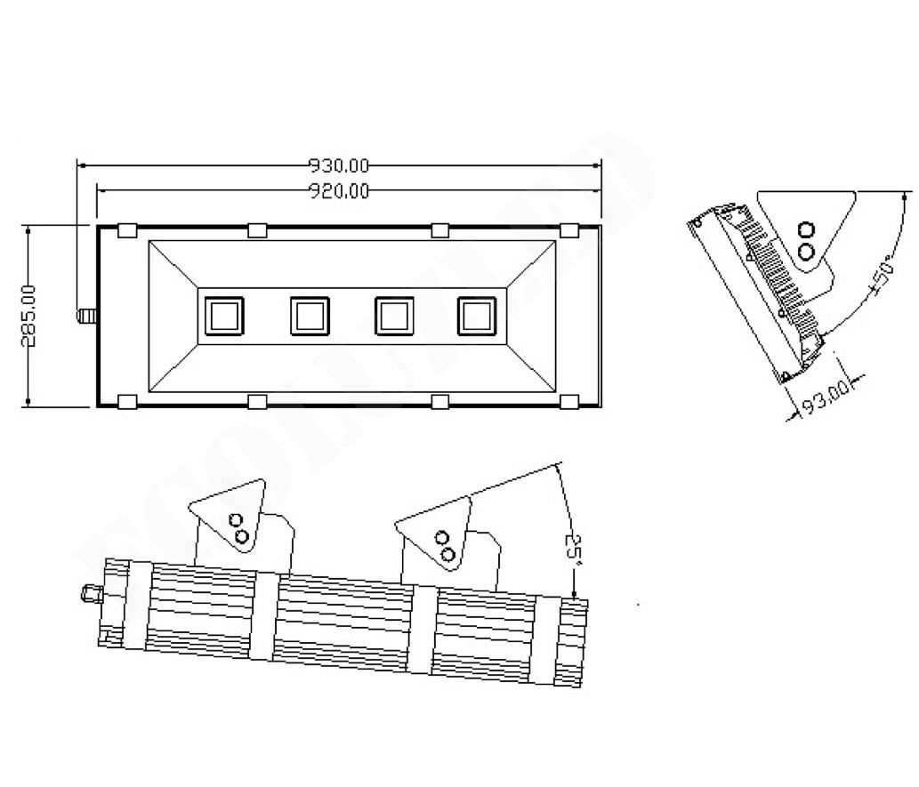Dimensiones Proyector Túnel LED 200W