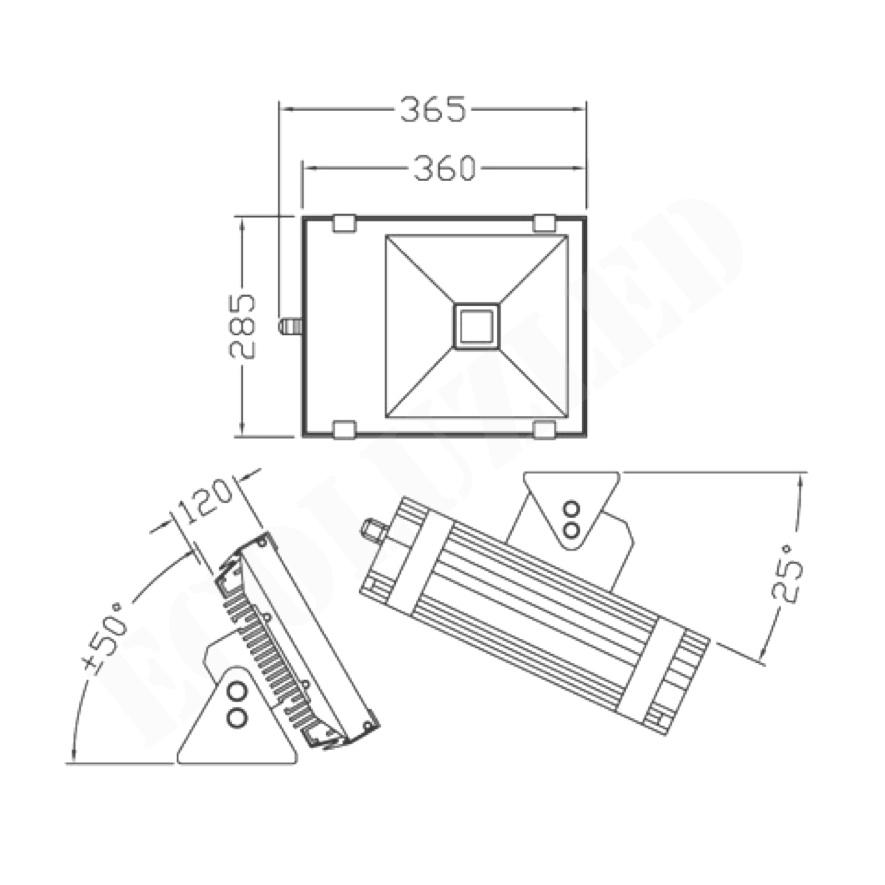Dimensiones Proyector Túnel LED 80W