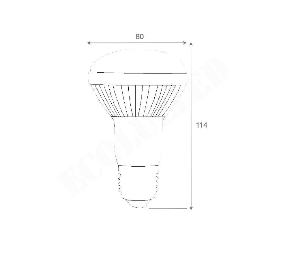 Dimensiones Bombilla LED R80 10W